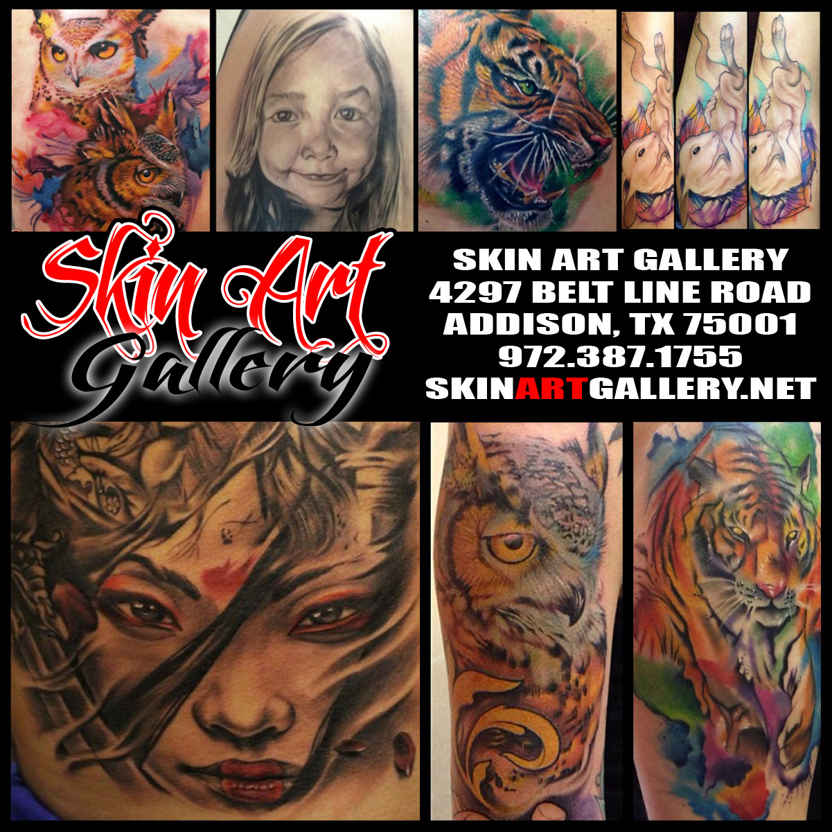 Skin art gallery addison tattoo for Skin gallery tattoo